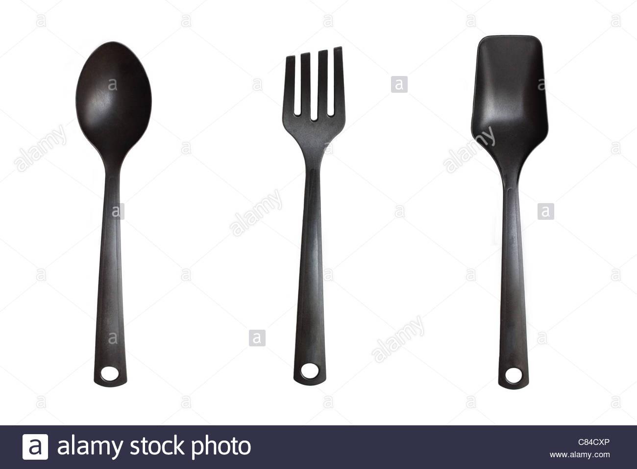 schwarze Küche Utensil Sammlung isoliert auf weißem Hintergrund Stockbild