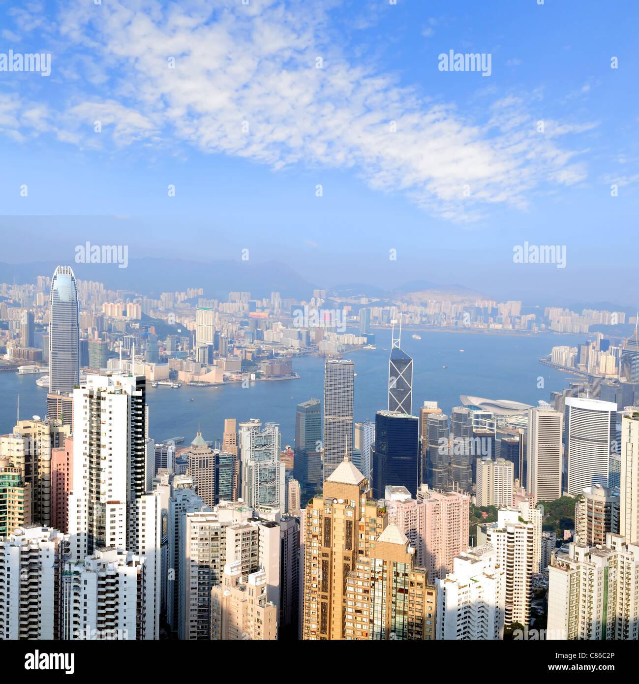 Skyline-Blick vom Peak auf Hong Kong Island Stockfoto