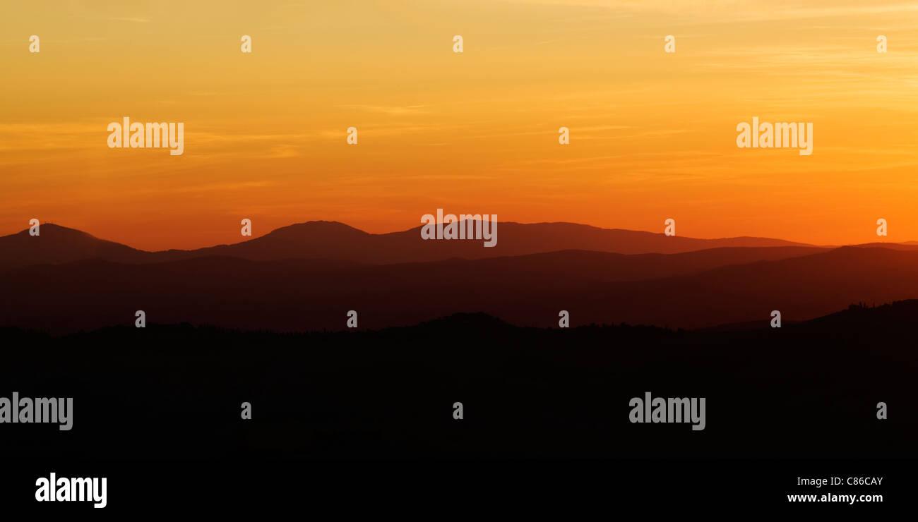 Tuscany - Sonnenuntergang - Pienza Stockbild