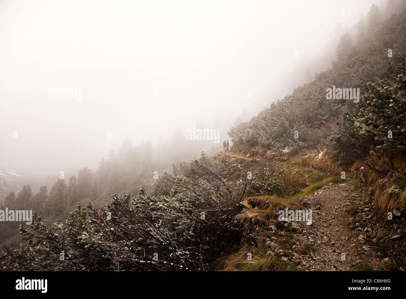 Gehweg auf verschneiten Bergen Stockfoto