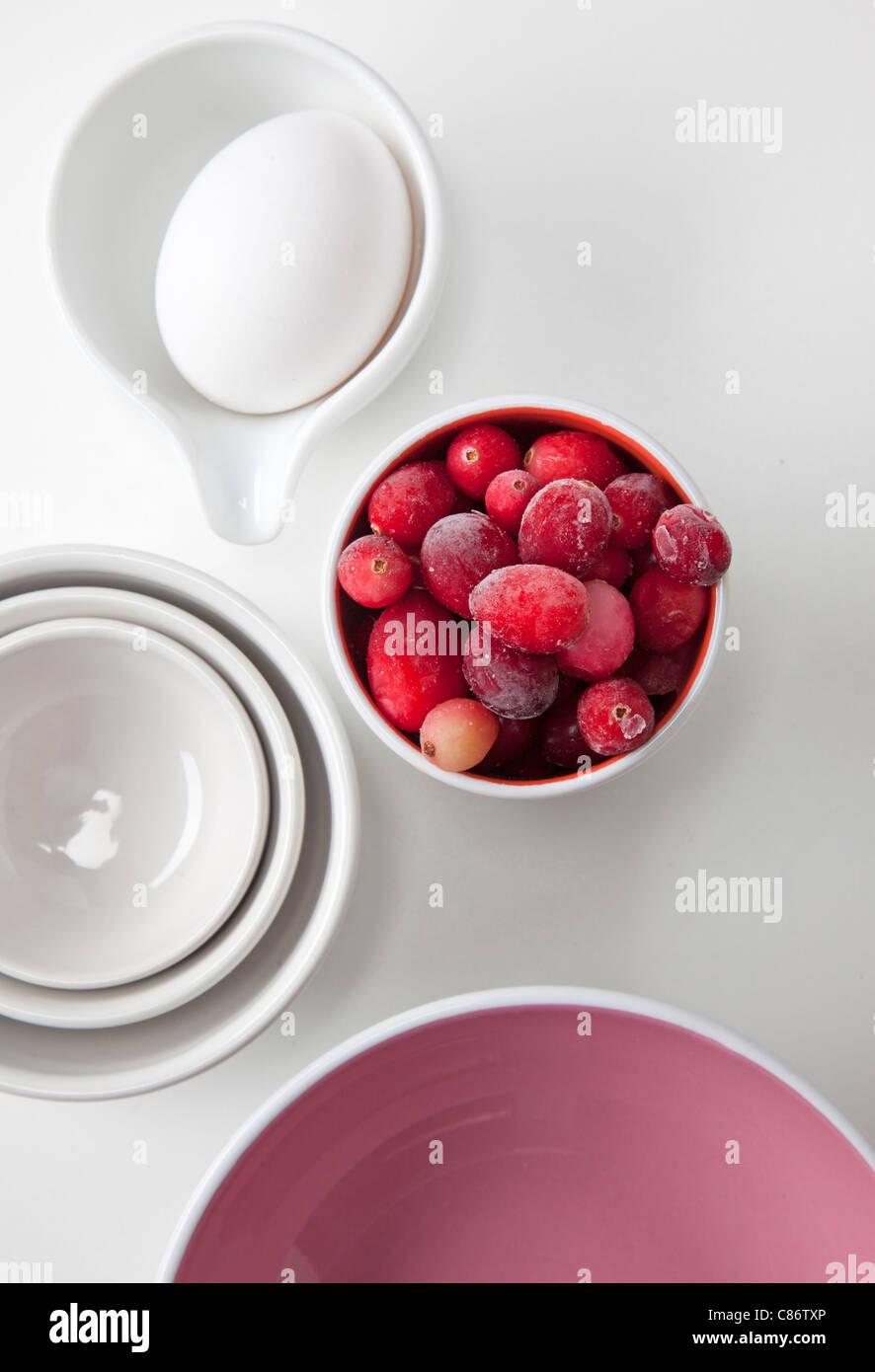 Kochen, Gegenstände und Lebensmittel Stockbild