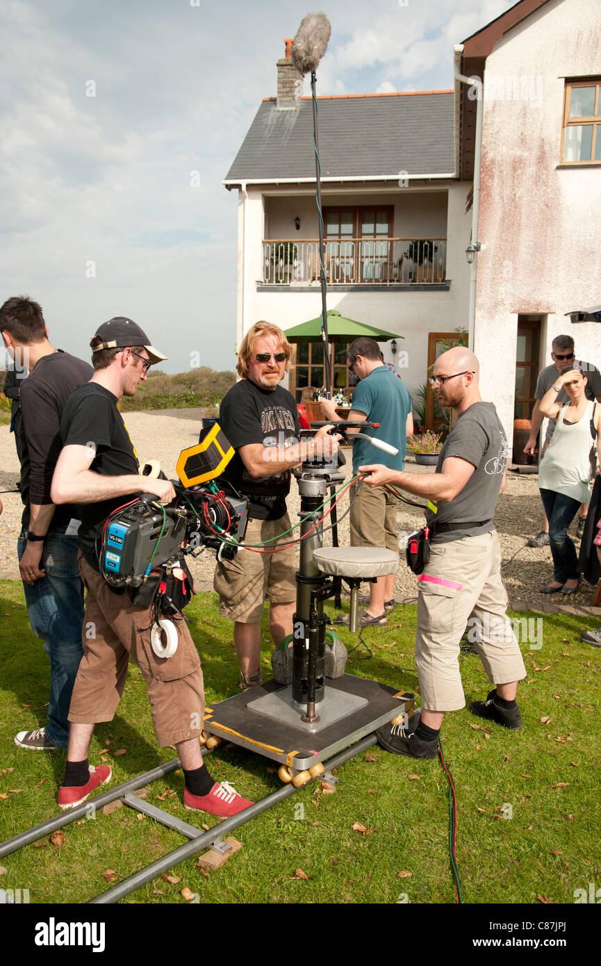 Ein Kamerateam an die Lage Aufzeichnung einer TV-Drama-Serie, UK Stockbild