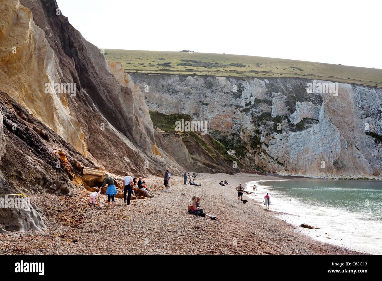 Alum Bay, Isle Of Wight. Von geologischem Interesse und eine touristische Attraktion ist die Bucht bekannt für seine Stockfoto