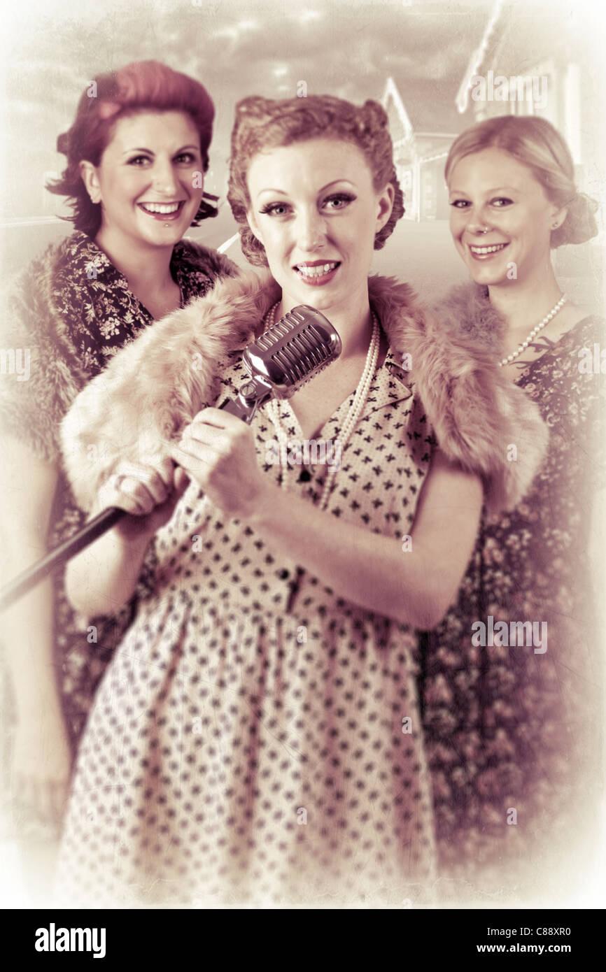 1940er Jahren 3 Teil Gesangsgruppe Stockbild