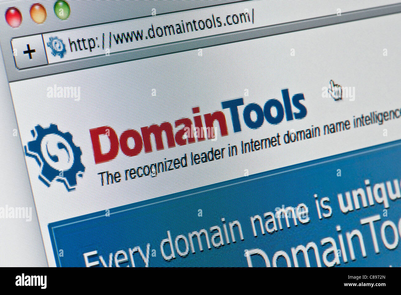 Nahaufnahme von der Domain Tools Logo wie auf ihrer Website zu sehen. (Nur zur redaktionellen Verwendung: print, Stockbild