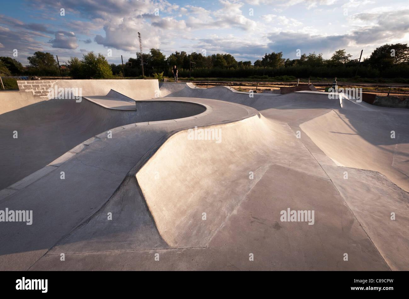 Belgien, Mechelen, Blick auf öffentlichen skatepark Stockbild