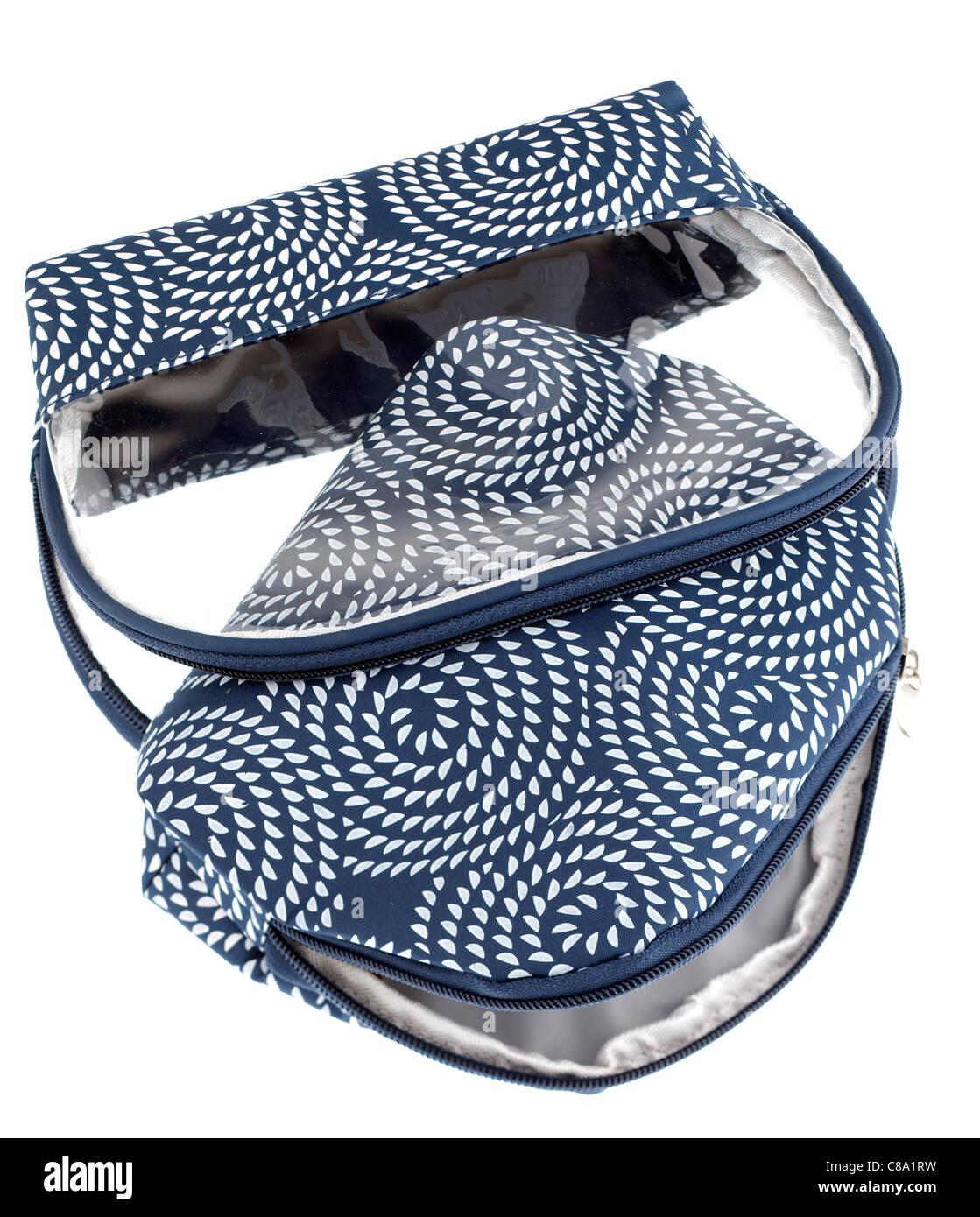 Blau und Weiß gemustert Kosmetiktasche mit Reißverschluss Stockbild