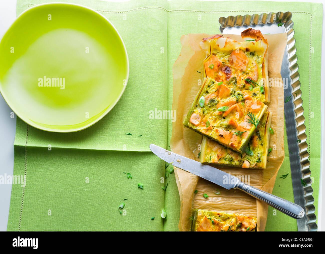 Erbsensuppe mit Curry rechteckige Torte Stockbild