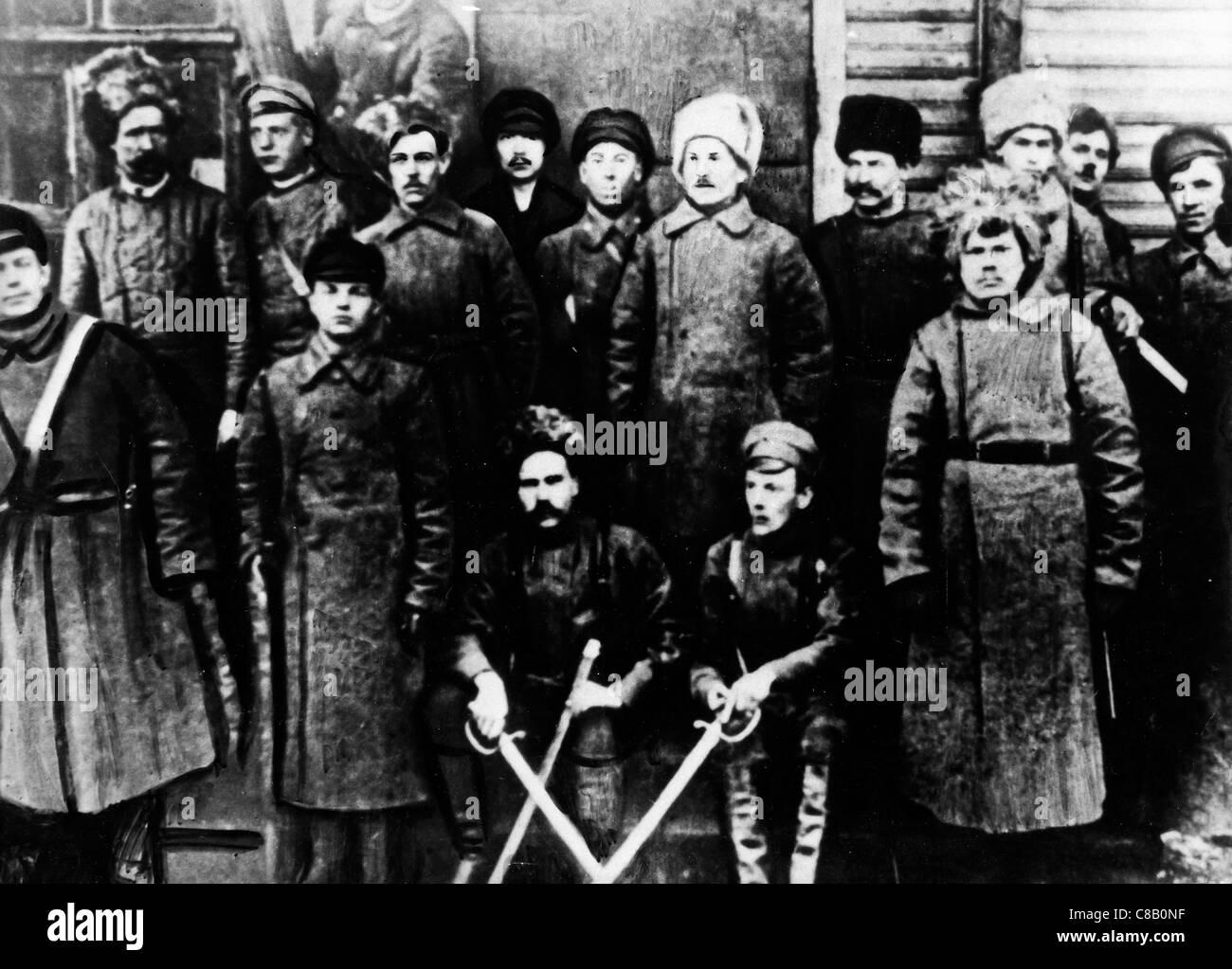 Porträt der Roten Garden, die russische Revolution 1917 Stockbild