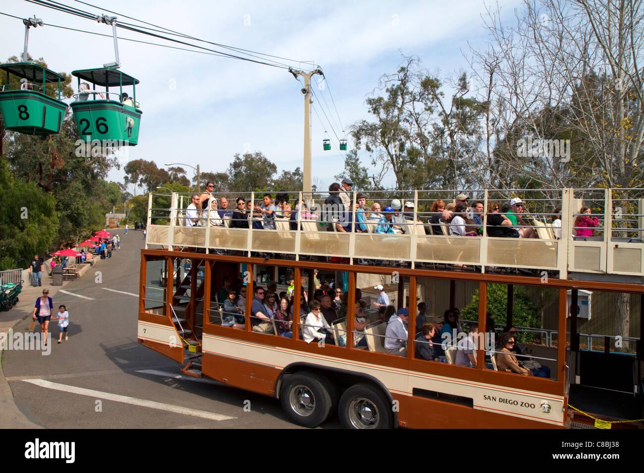 Doppeldecker-Bus Führung durch den Zoo von San Diego befindet sich im Balboa Park, Kalifornien, USA. Stockbild