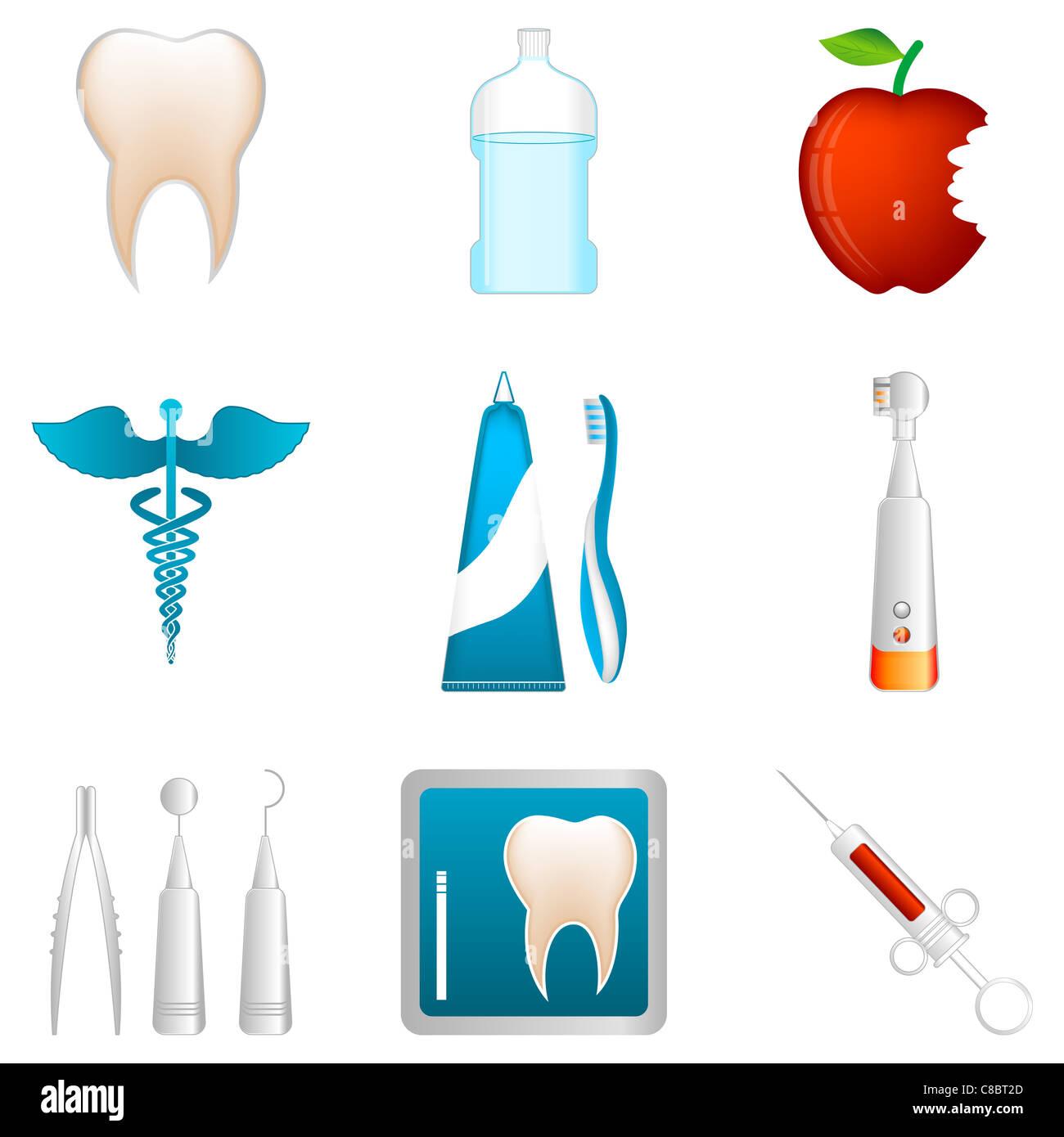 Abbildung der zahnärztlichen Symbole auf weißem Hintergrund Stockfoto