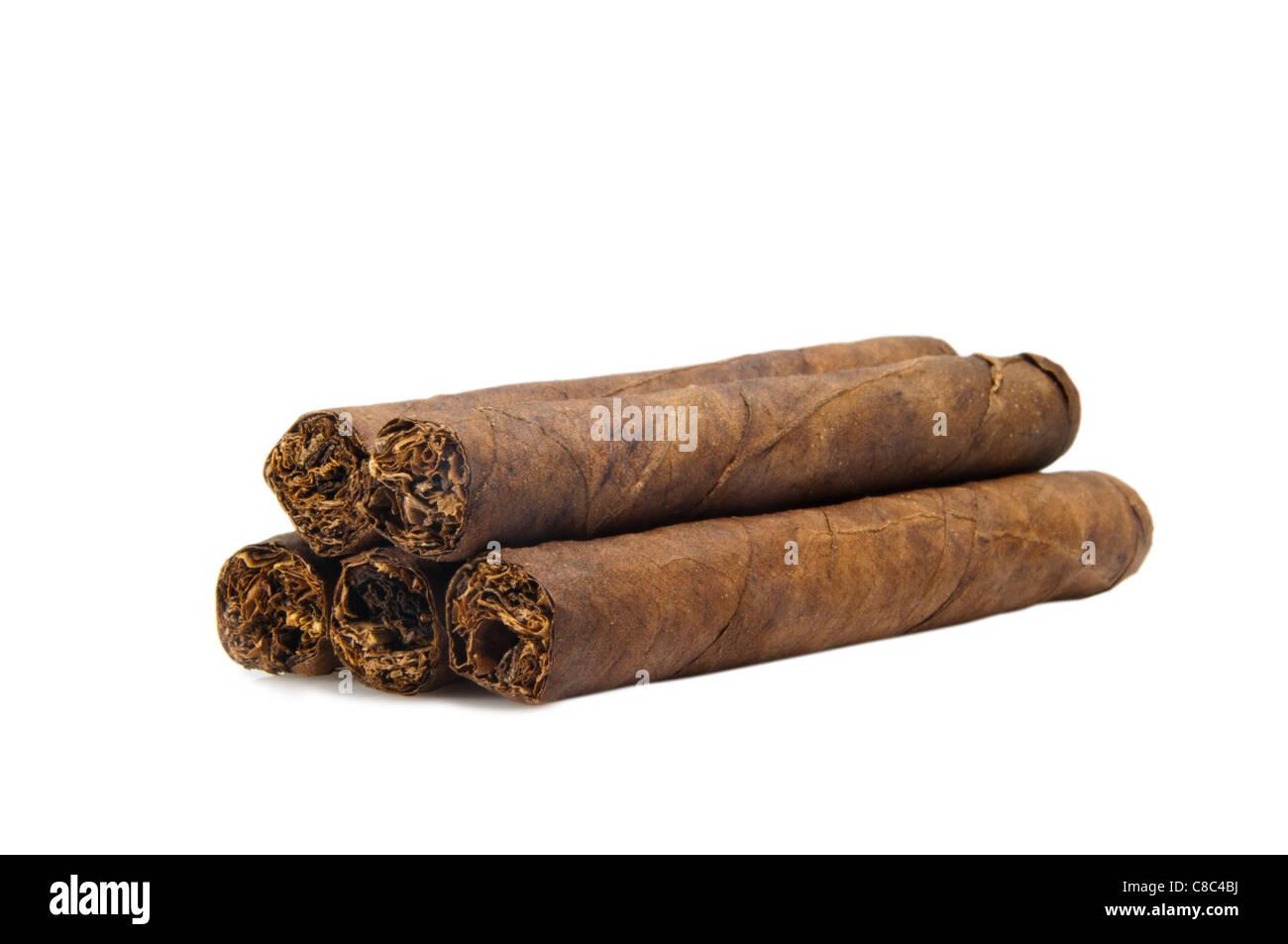 Zigarren set auf weißem Hintergrund Stockbild