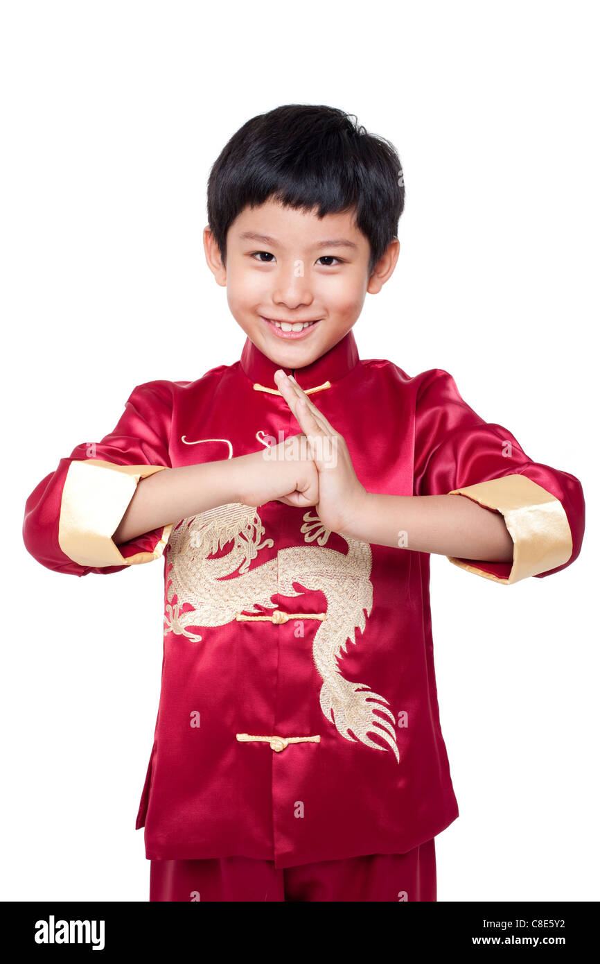 Kleiner Junge gekleidet In traditioneller chinesischer Kleidung Stockbild