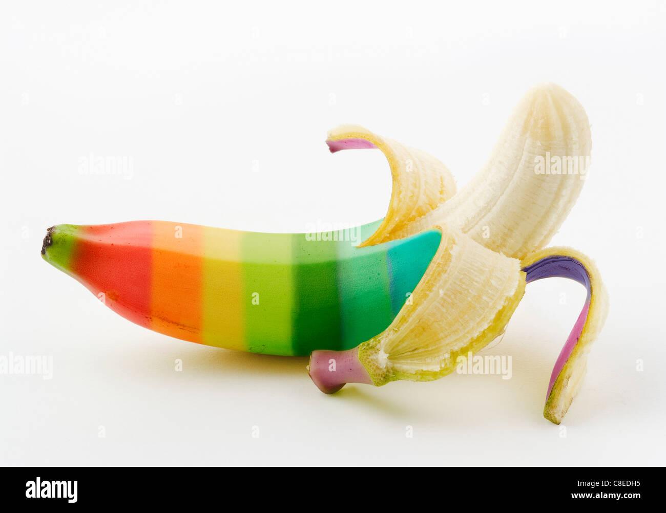 Mehrfarbige Banane Stockbild