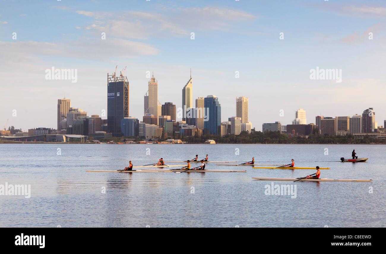 Ruderboote und Ruderer am Swan River. Stockbild