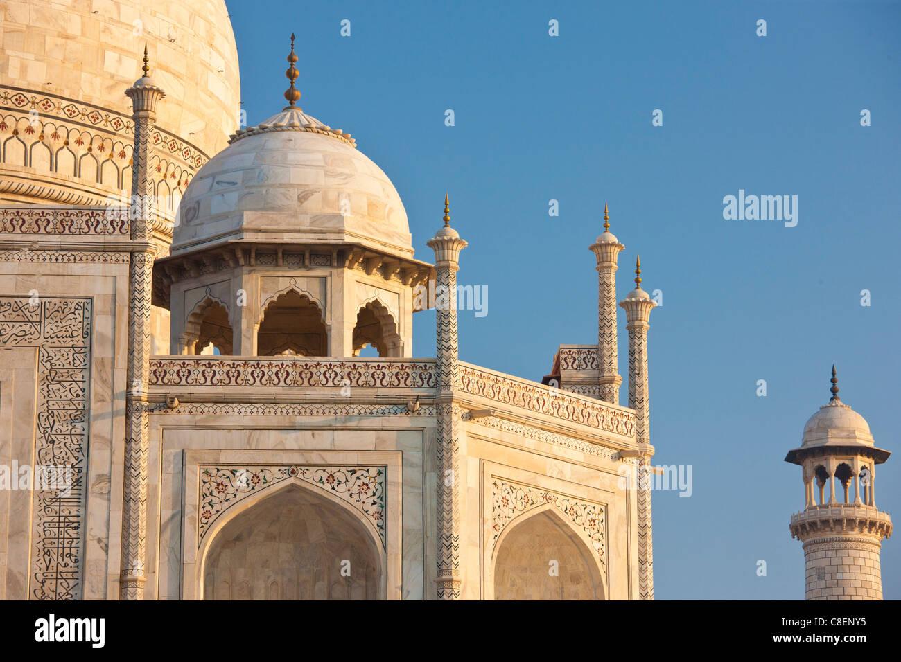 Das Taj Mahal Mausoleum westliche Ansicht Detail, Uttar Pradesh, Indien Stockbild