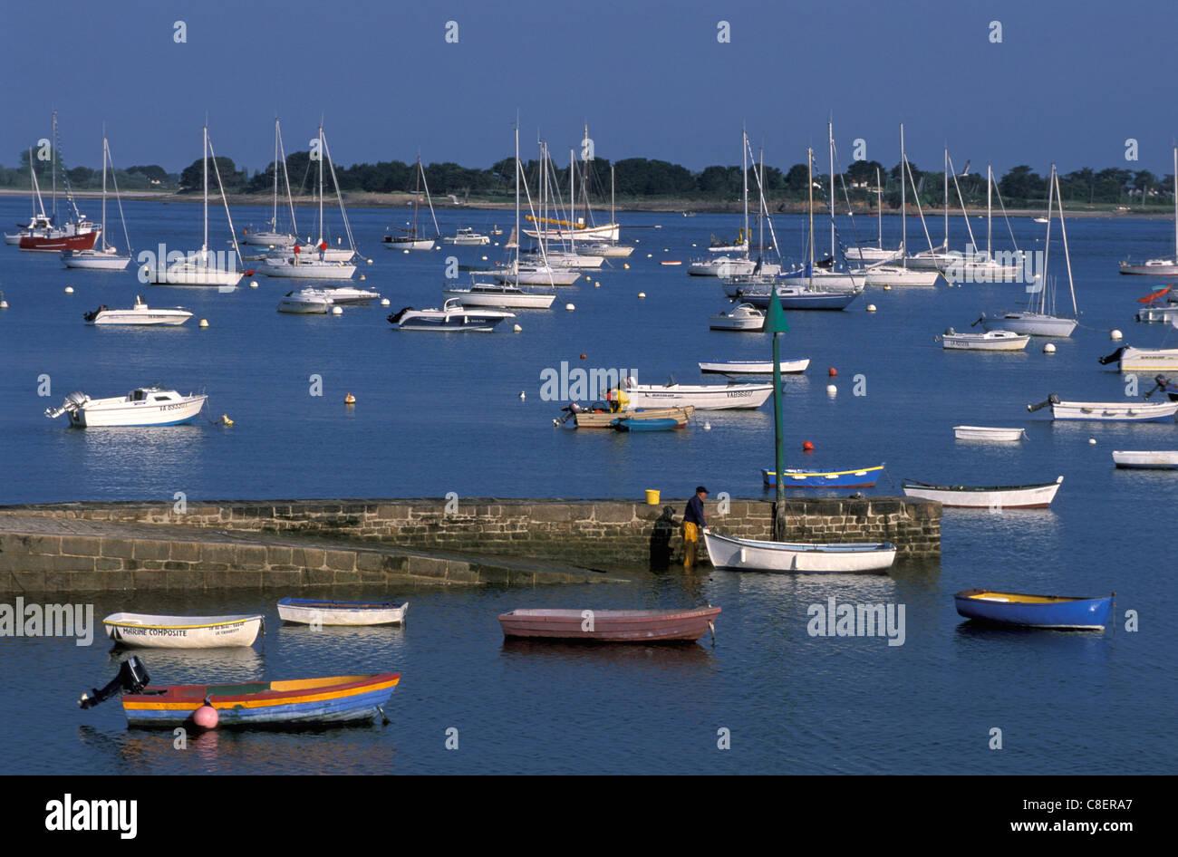 Boote, Hafen, Hafen, Port Navalo, Golfe de Morbihan, Bretagne, Bretagne, Frankreich, Europa, Stockbild
