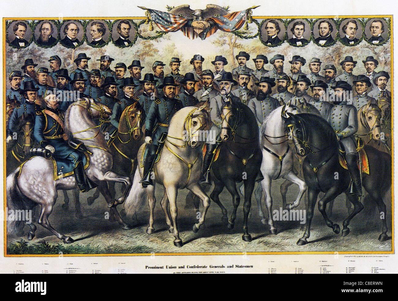 AMERICAN CIVIL WAR Porträts der wichtigsten militärischen und politischen Teilnehmer auf beiden Seiten Stockbild