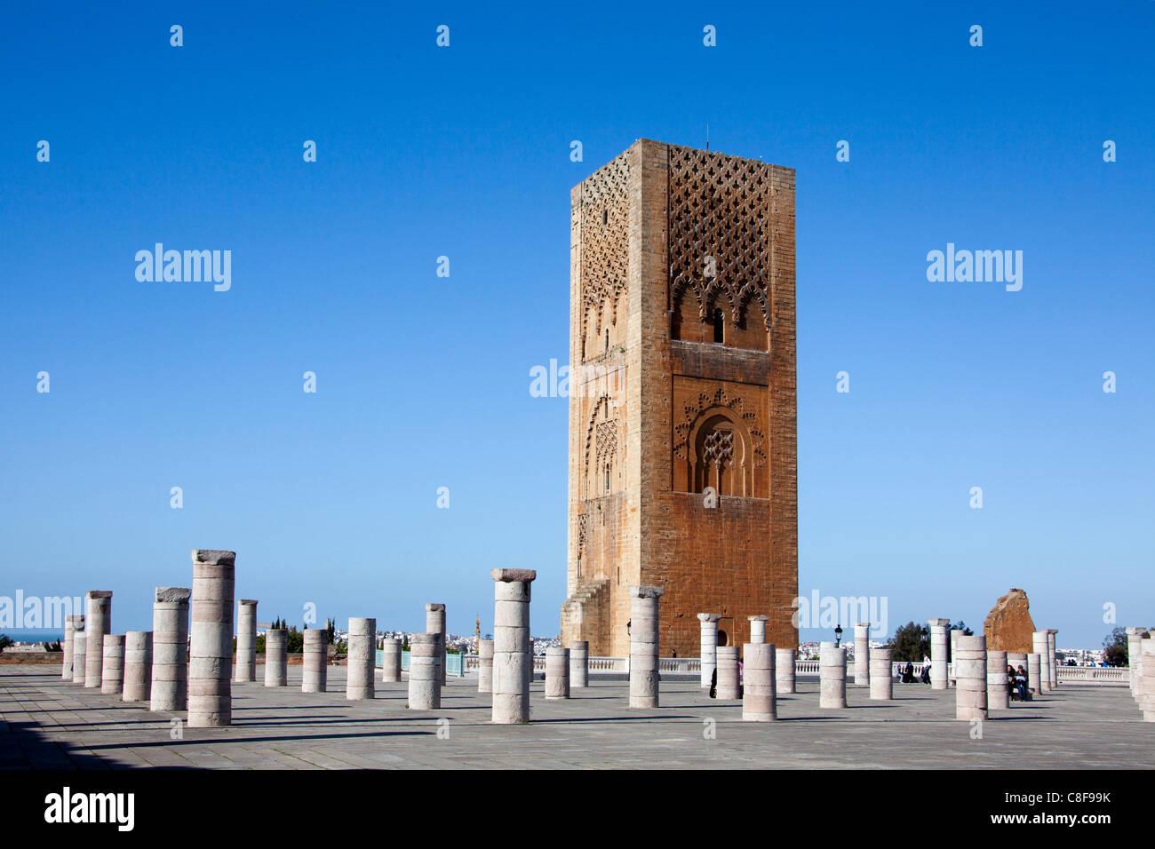 Marokko, Nordafrika, Afrika, Rabat, Hassan II, Turm, Turm, Spalten Stockbild