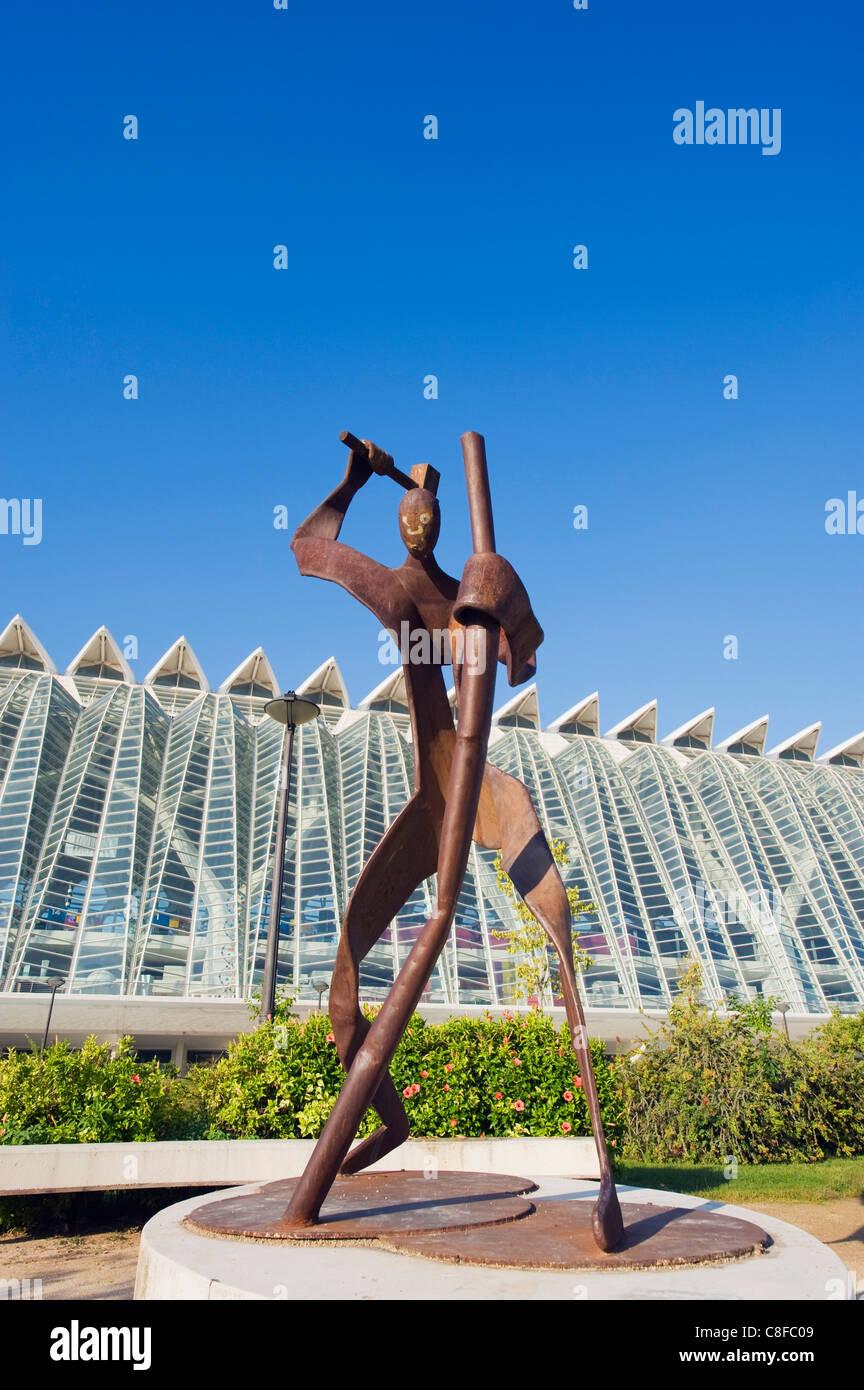 Moderne Skulptur, Stadt der Künste und Wissenschaften, Valencia, Spanien Stockbild
