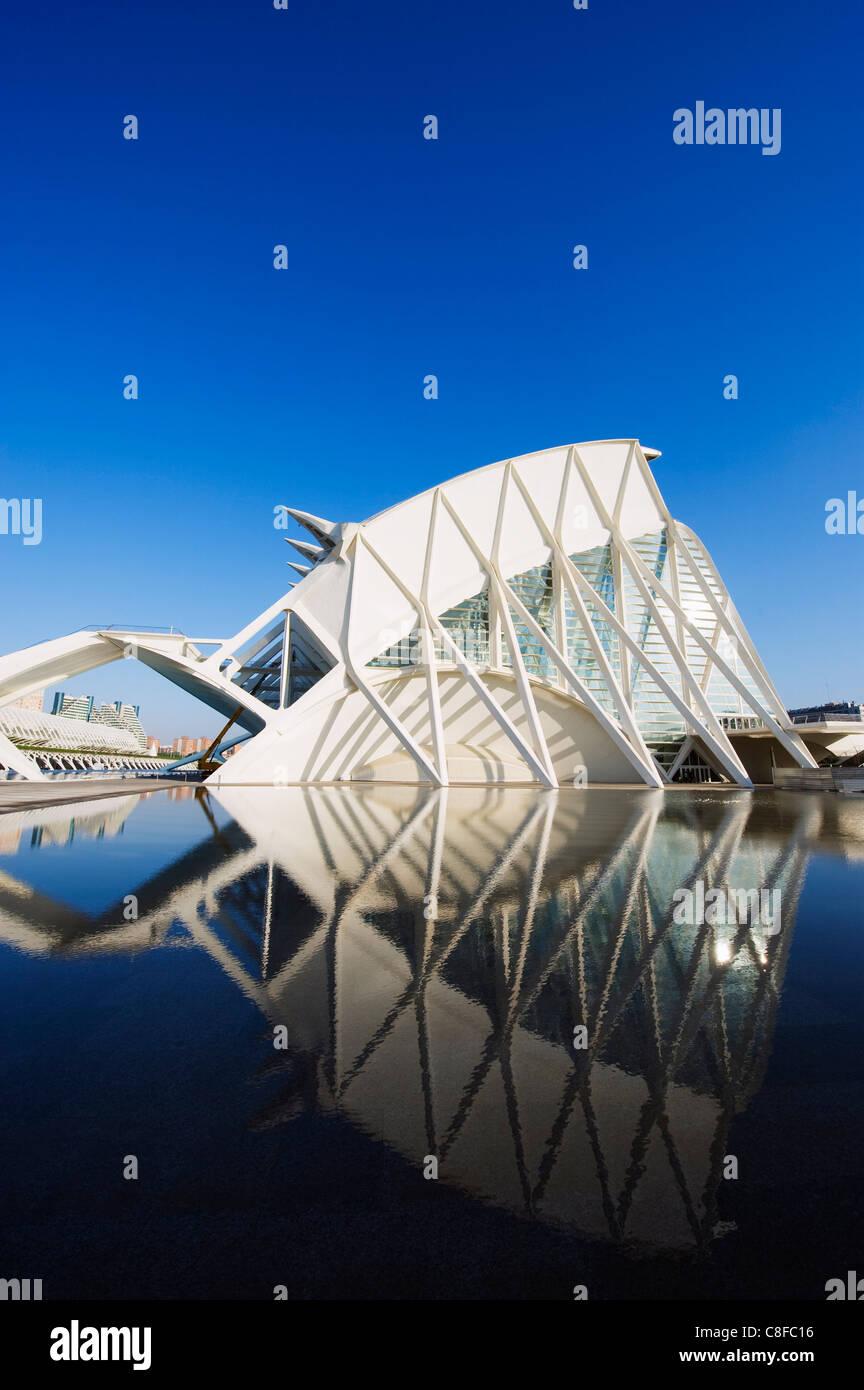 Science Museum, Architekt Santiago Calatrava, Stadt der Künste und Wissenschaften, Valencia, Spanien Stockbild