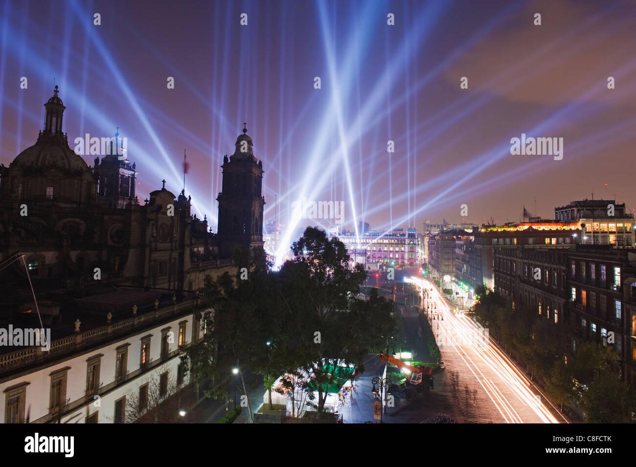 Lichtershow Kathedrale Metropolitana, Federal District, Mexico City, Mexiko Stockbild