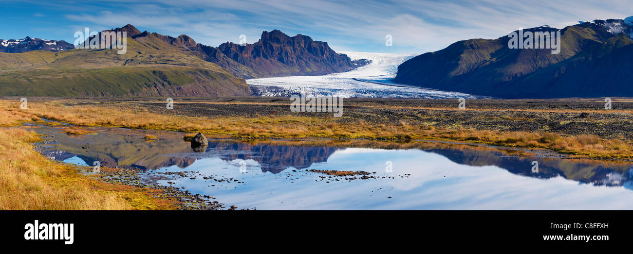 Skaftafellsjökull, glaziale Zunge der Vatnajökull-Eiskappe, Skaftafell-Nationalpark, Island (Austurland, Stockbild
