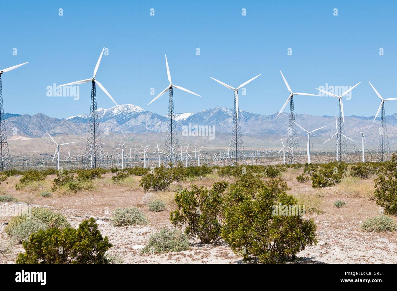 Windpark außerhalb Palm Springs, Kalifornien, Vereinigte Staaten von Amerika Stockbild