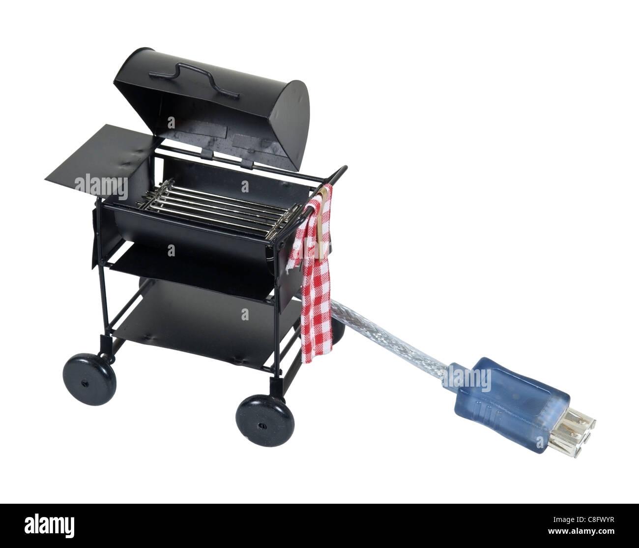 Online Kochrezepte gezeigt durch ein Metall-Barbecue-Grill mit einer USB-Verbindung - Pfad enthalten Stockbild