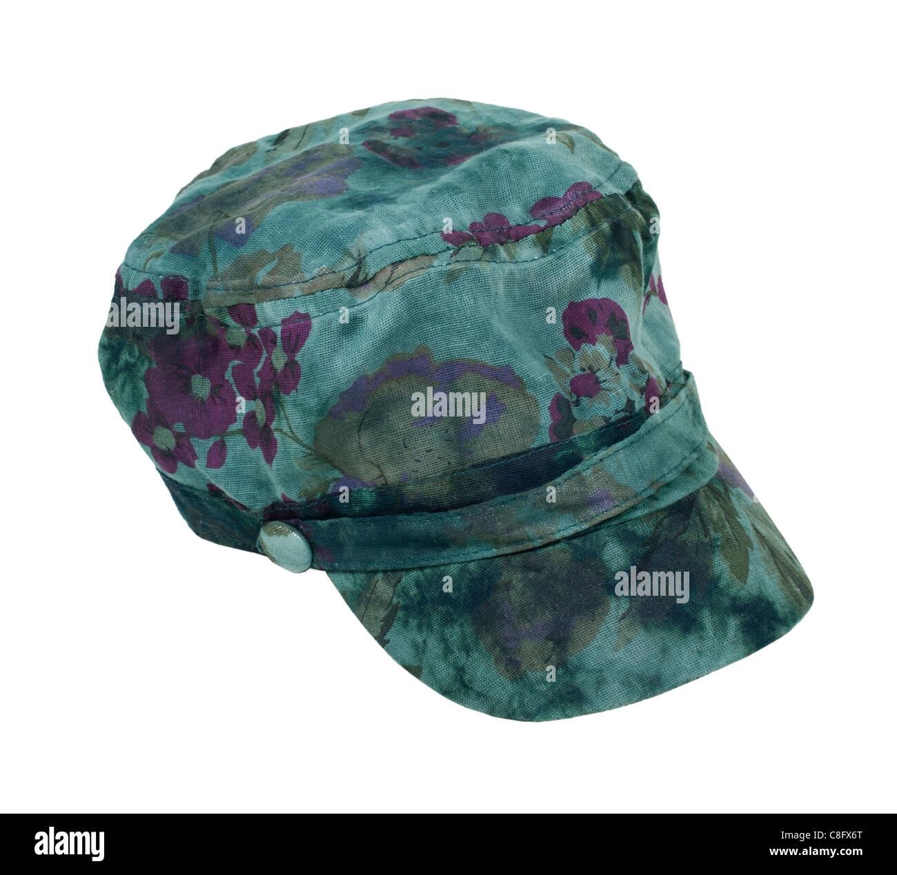 Eine dunkle grüne Krawatte Farbstoff Commando Hut für einen Hauch von Ironie - Pfad enthalten Stockbild