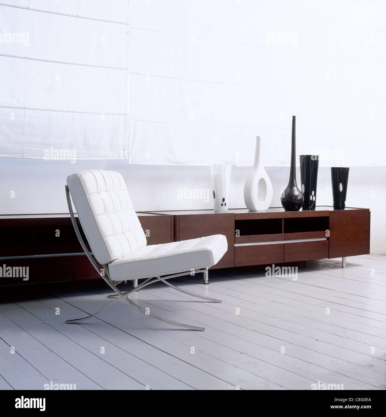 Interior Design, weiß, schwarz, Barcelona Chair, Wohnzimmer ...