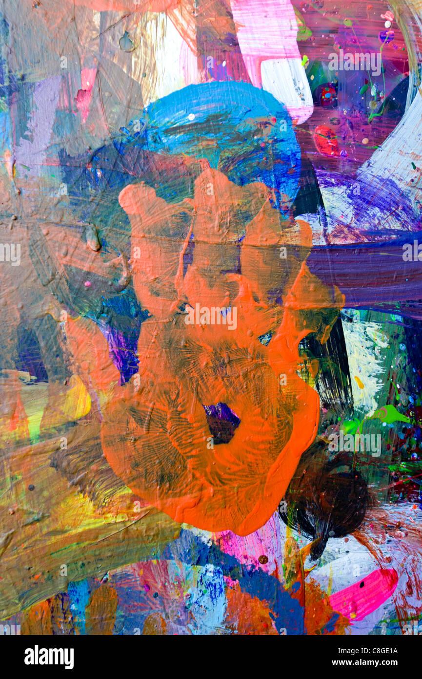 Hand-Druck in Farbe und Flecken an der Wand Kapstadt Südafrika Stockbild