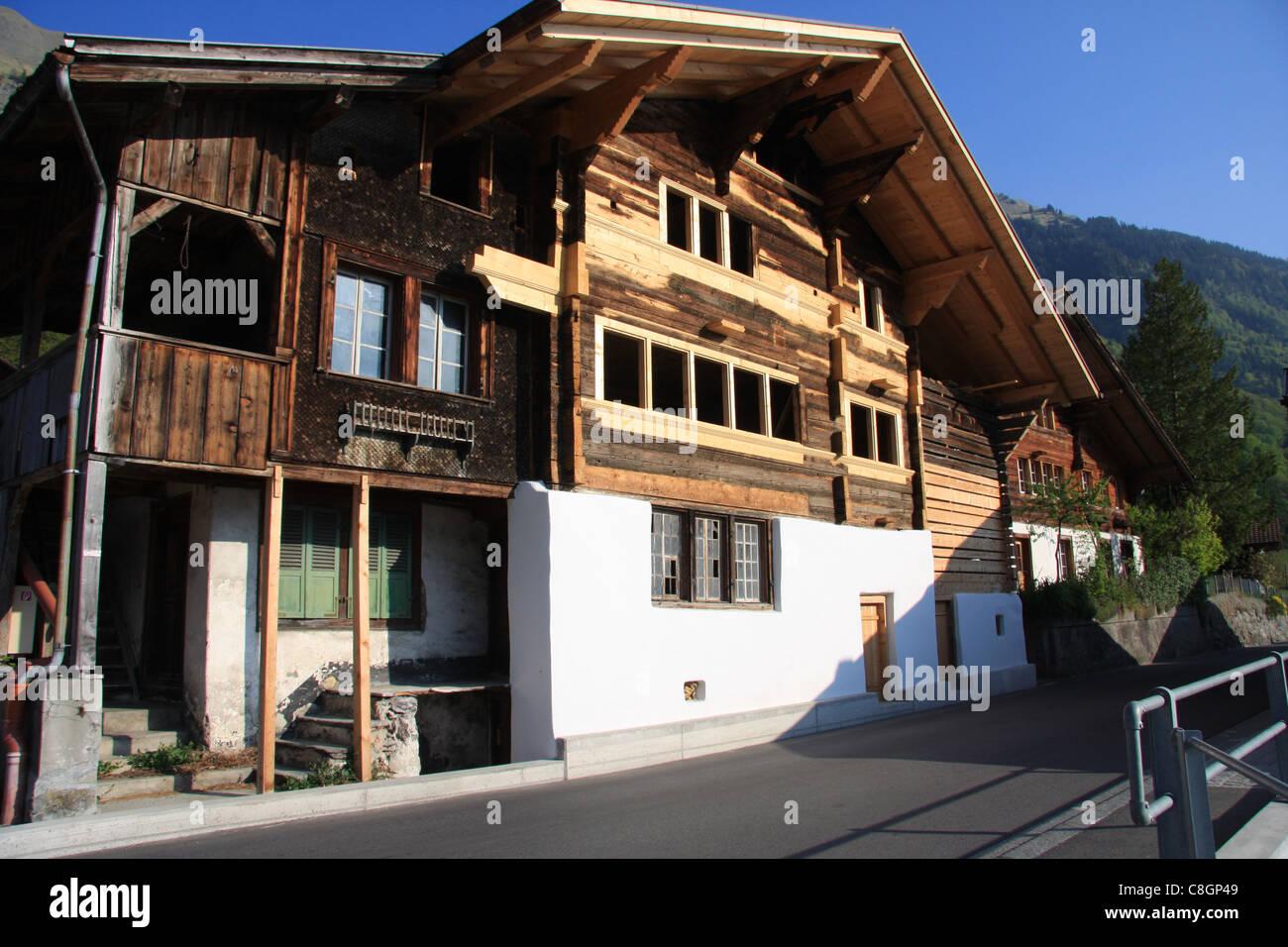 Schweiz Kanton Bern Obere Schilf Bauernhaus Holz Fassade