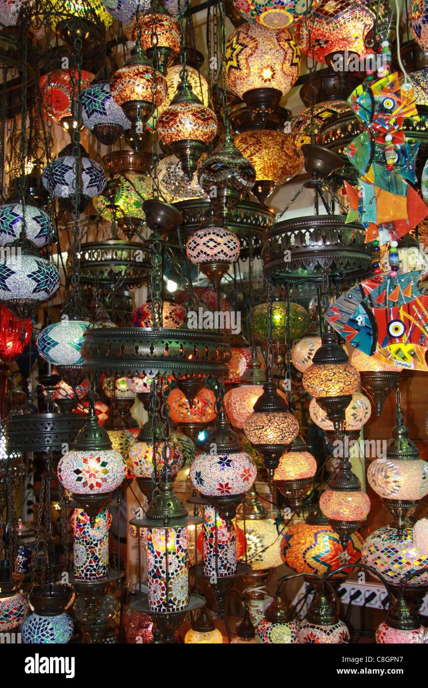 Istanbul, Türkei, groß, groß, Basar, Kapali Carsi, Markt, Lampen ...