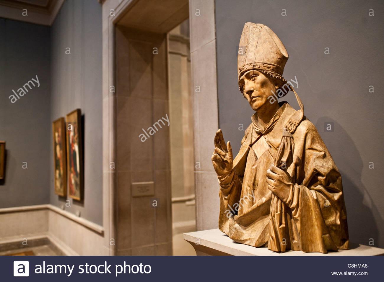 Europäische Kunst, 16.. Jahrhundert, ein Heiliger Bischof von Tilman Riemenschneider. Stockbild