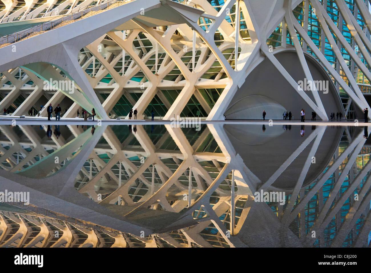Spanien, Europa, Valencia, Stadt der Künste und Wissenschaften, Calatrava, Architektur, Modern, Stockbild