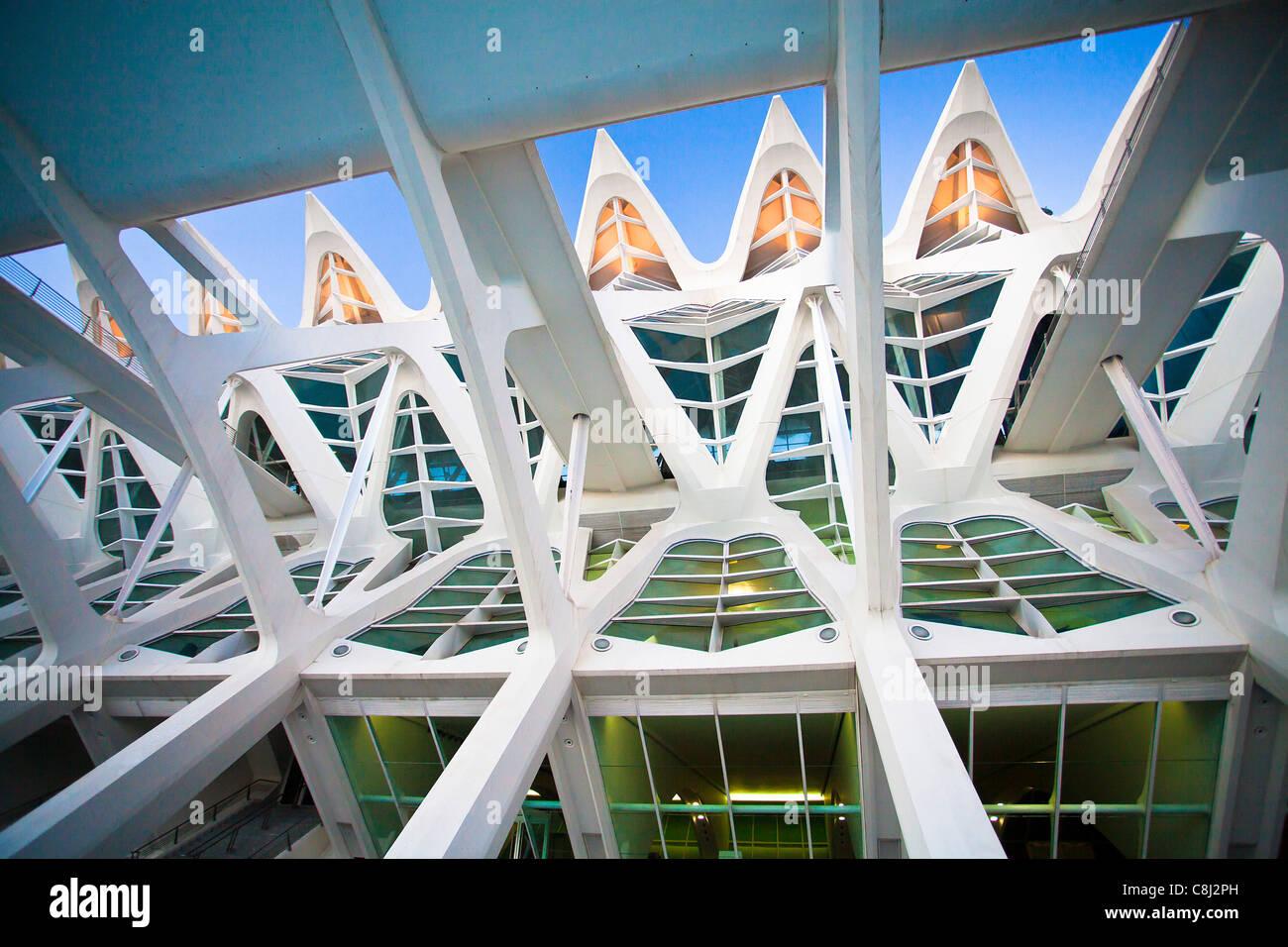 Spanien, Europa, Valencia, Stadt der Künste und Wissenschaft, Calatrava, Architektur, modern, Struktur Stockbild