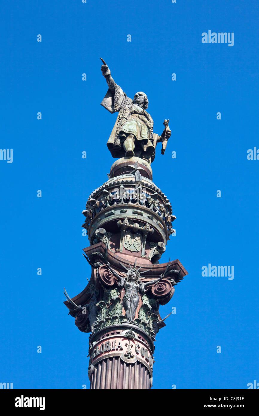 Spanien, Europa, Katalonien, Barcelona, Stadt, Columbus, Denkmal, Stockbild