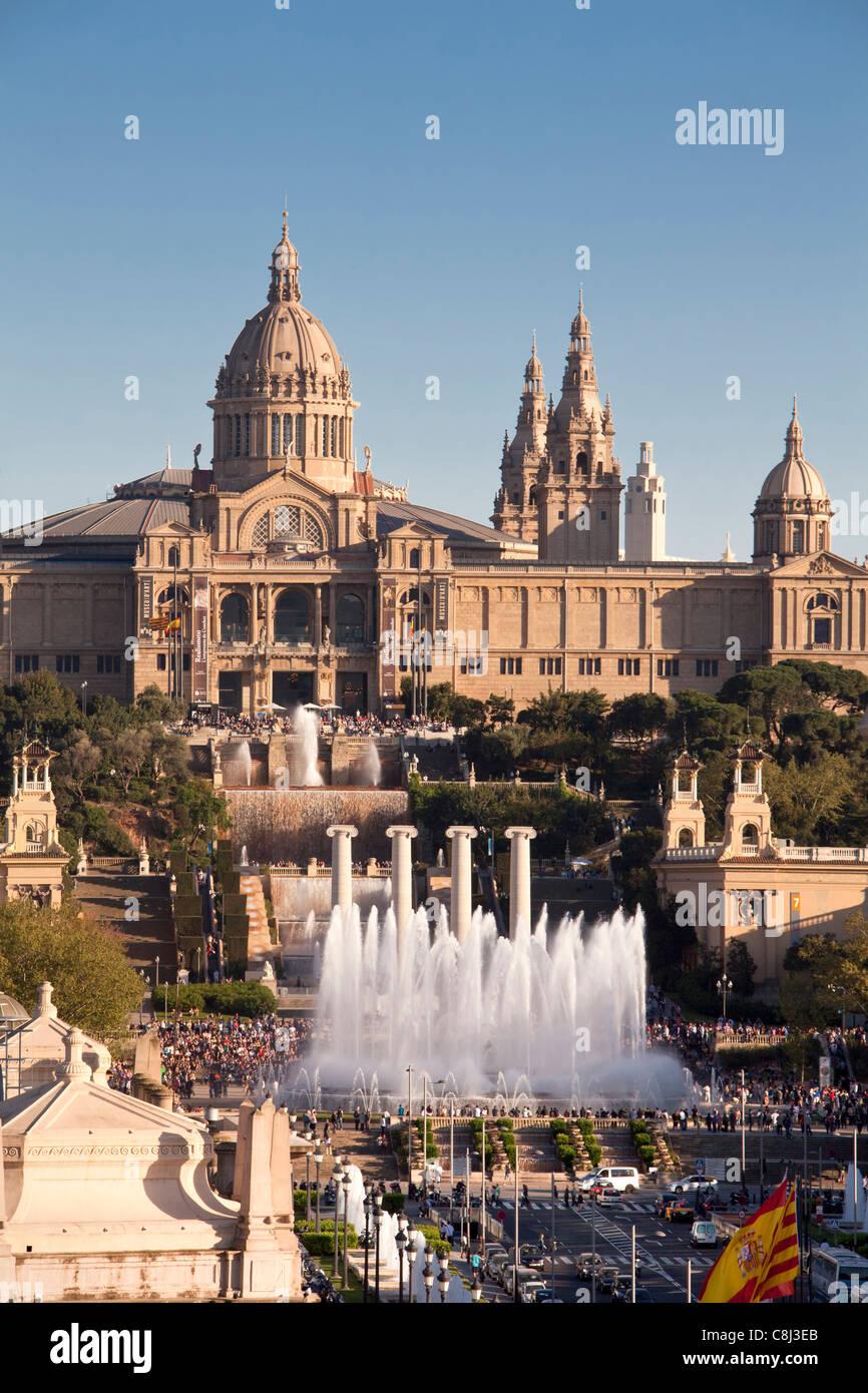 Spanien, Europa, Katalonien, Barcelona, España, Montjuich, Palast, Brunnen Stockbild