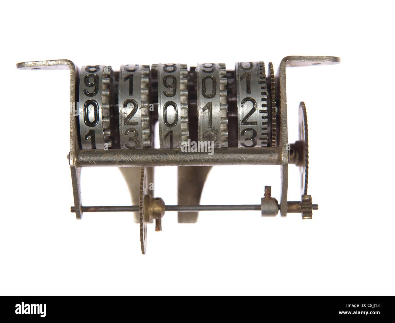 Mechanische Zähler-Mechanismus mit Zahnrädern, das neue Jahr 2012. Stockbild
