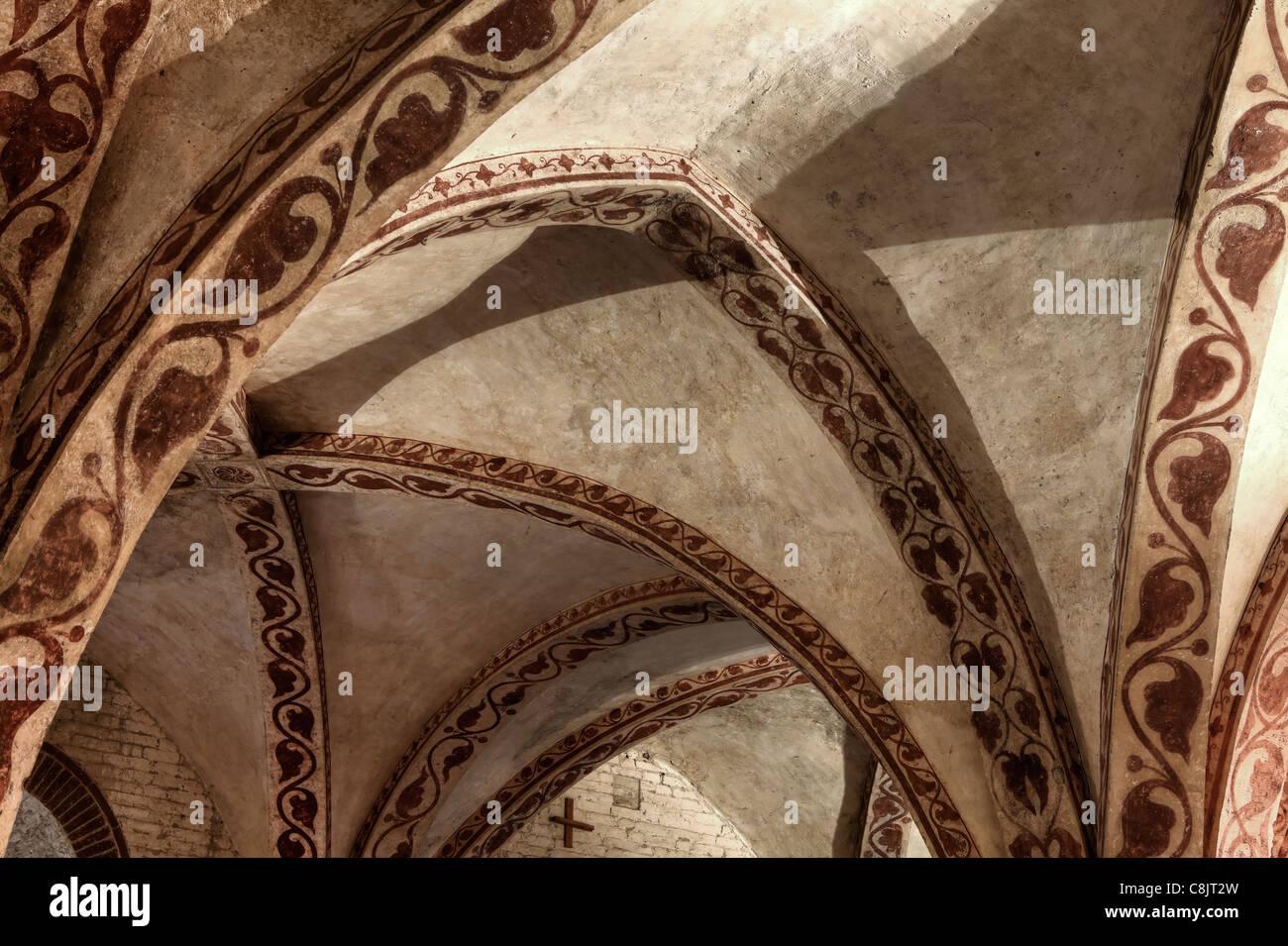 Decke einer Abtei in der Toskana, Italien Stockbild