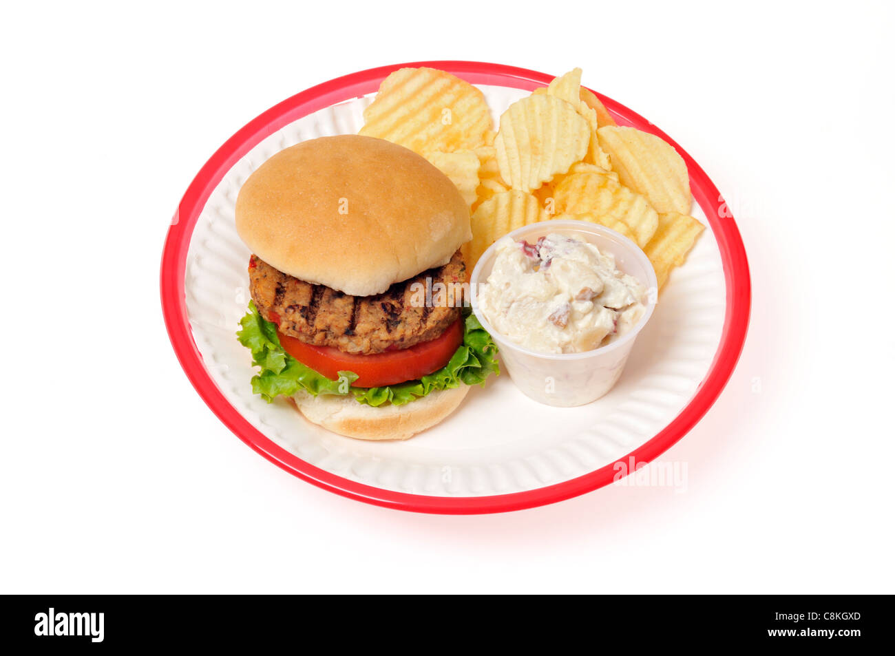 Veggie-Burger mit Salat und Tomate in Brötchen in einem roten Retro-Kunststoffplatte Korb auf weißem Hintergrund, Stockbild