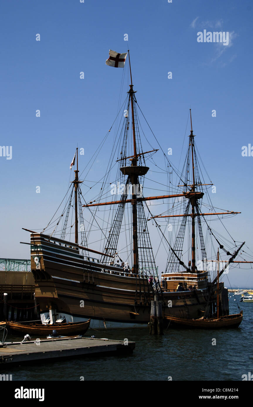 Mayflower II am staatlichen Pier. Plymouth. Massachusetts. USA. Stockbild