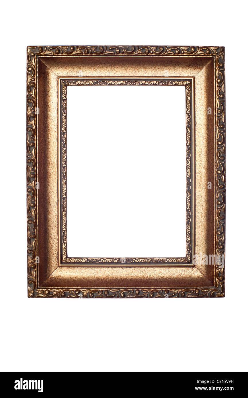 Eine dekorative antike Bilderrahmen isoliert auf weiss für den Einsatz horizontal oder vertikal. Stockbild