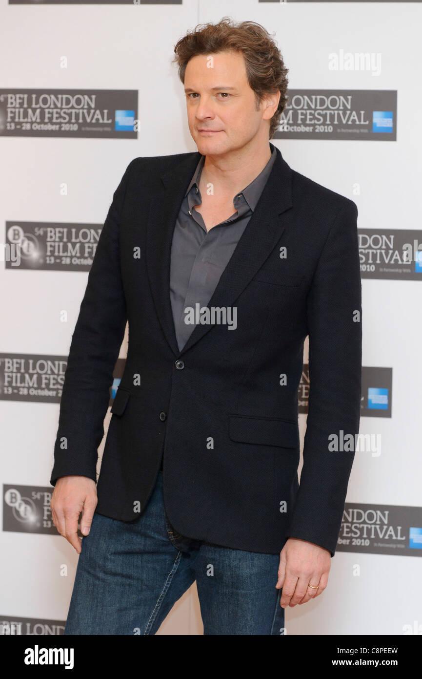 Colin Firth besucht des Königs Rede Fototermin im VUE, London, 21. Oktober 2010. Stockfoto