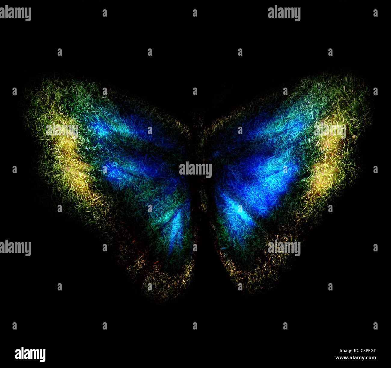 Blaue abstrakte Schmetterling auf einem schwarzen Hintergrund Stockbild