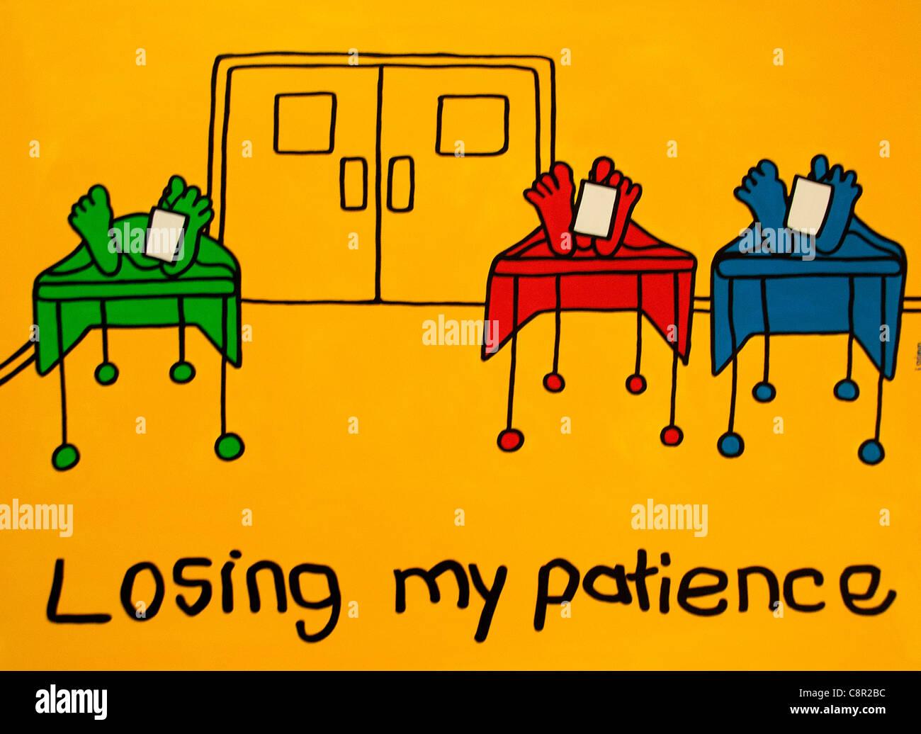 Verlieren meine Geduld Krankenhaus Füße Tote Tote Frauen Männer Mann am Tisch mit Toe Tags Stichwörter Stockbild