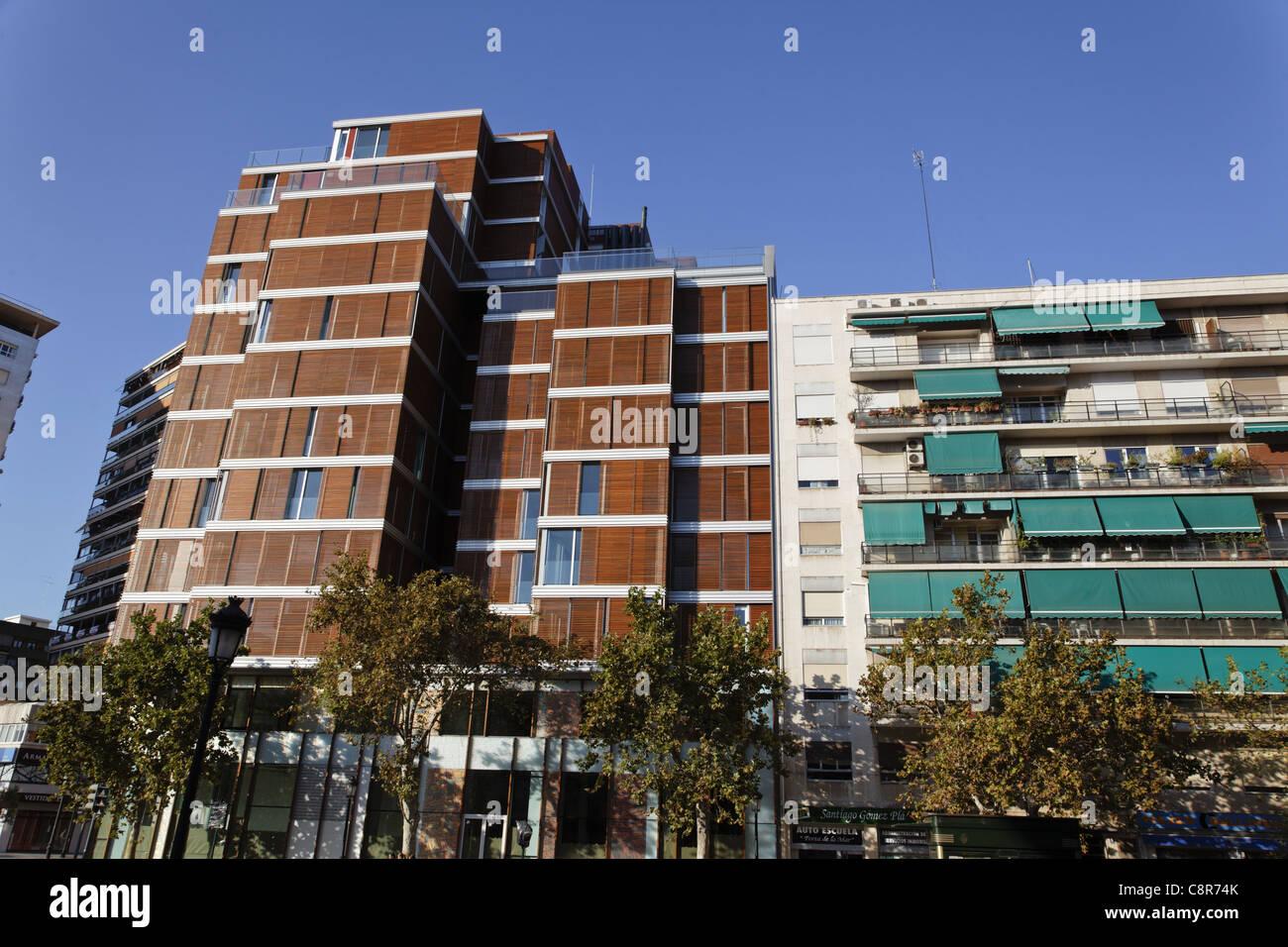 Plaza Porta del Mar, moderne Architektur, Immobilien, Valencia, Spanien Stockbild
