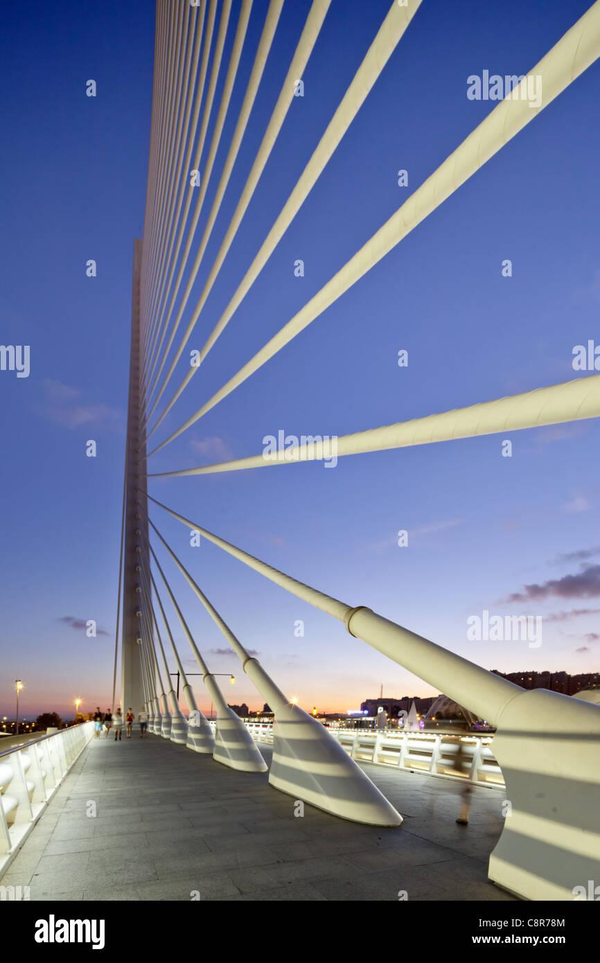 Puente de l Assut, Brücke, Stadt der Wissenschaften, Calatrava, Valencia, Spanien Stockbild