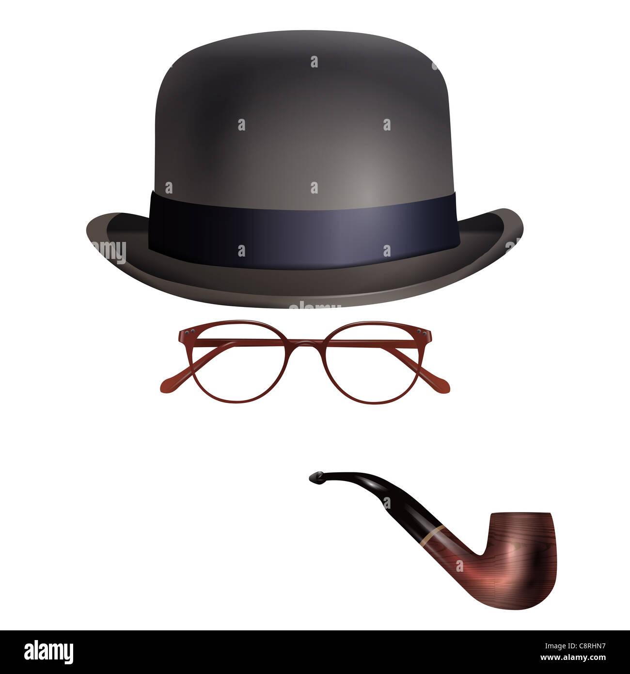 Hut, Brille und Pfeife auf weißen Hintergrund Stockbild
